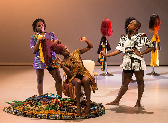London, UK. 19.09.2016. Uchenna Dance presents 'The Head Wrap Diaries' at The Place. Photo shows: Picture shows: Habibat Ajayi, Shelia Attah, Shanelle Clemenson. Photo - © Foteini Christofilopoulou.